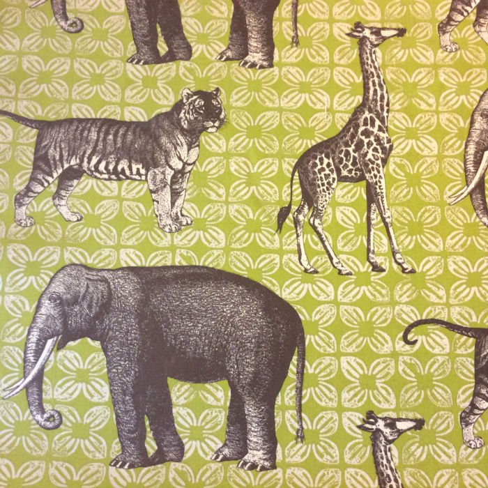 Thomas Paul Safari Animals Bazaar Peridot Acrylic Indoor Outdoor Fabric SD105b