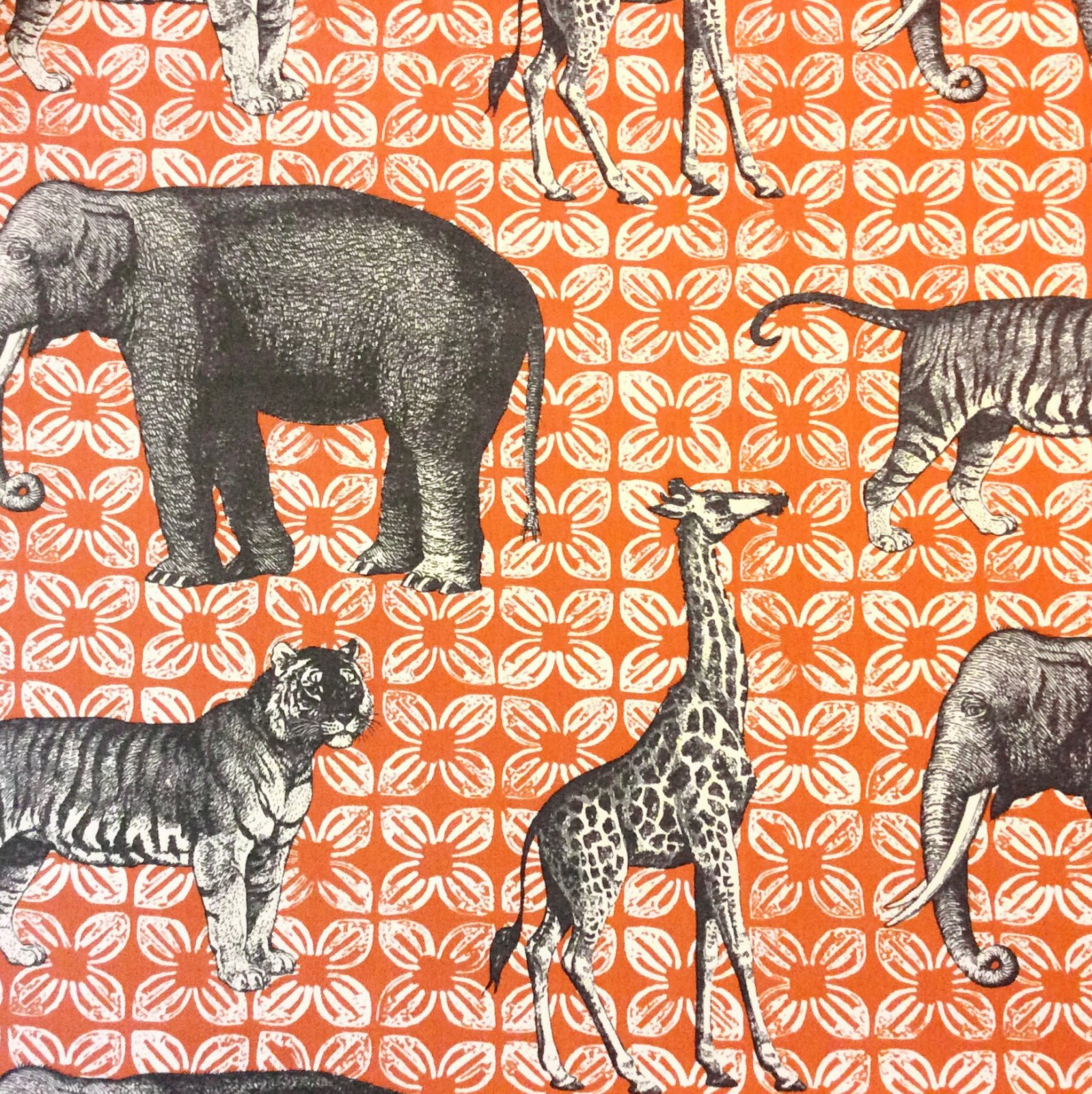 Thomas Paul Safari Animals Bazaar Clay Acrylic Indoor Outdoor Fabric SD105c