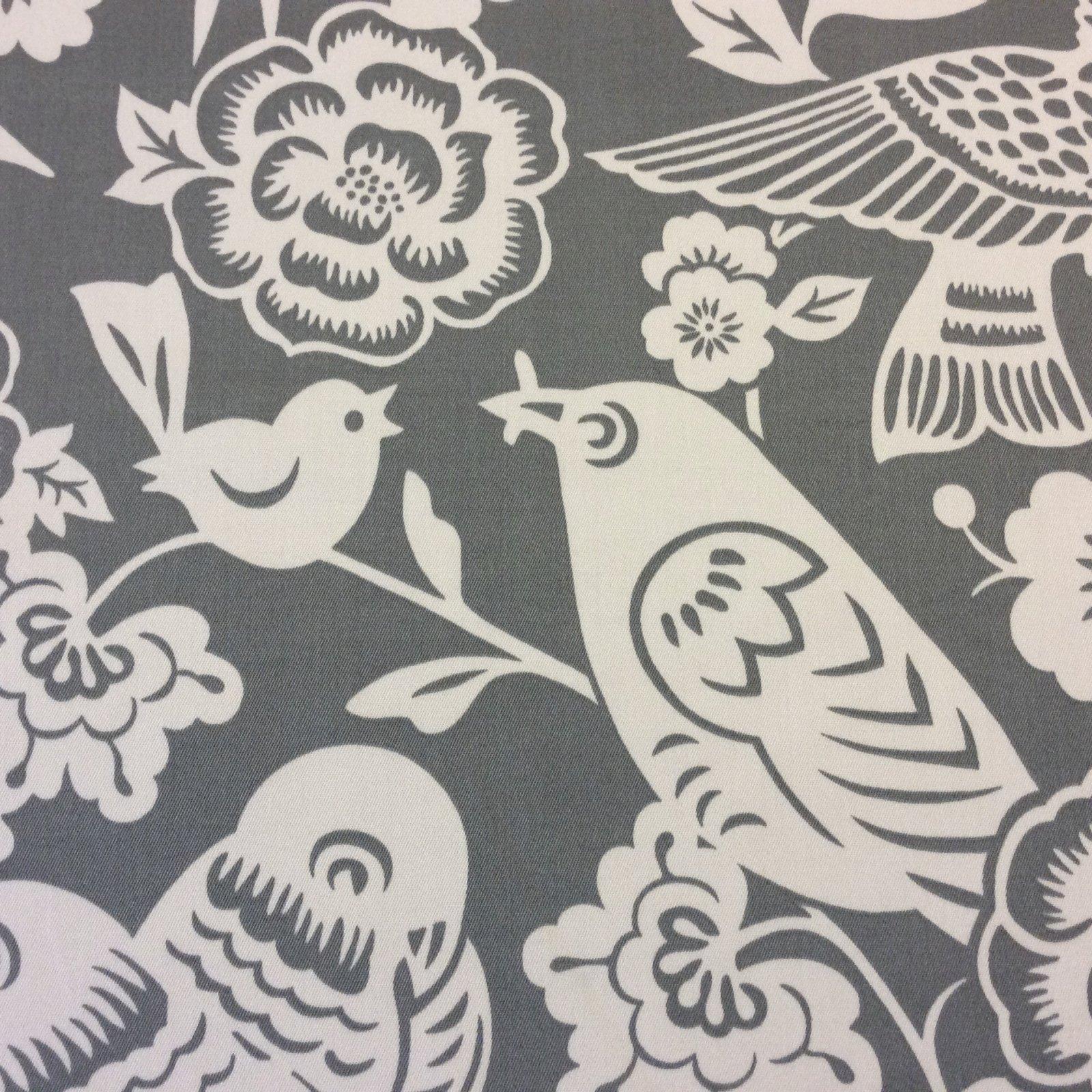 Thomas Paul Woodcut Birds Retro Chirp Grey Indoor Outdoor Acrylic Fabric SD106a