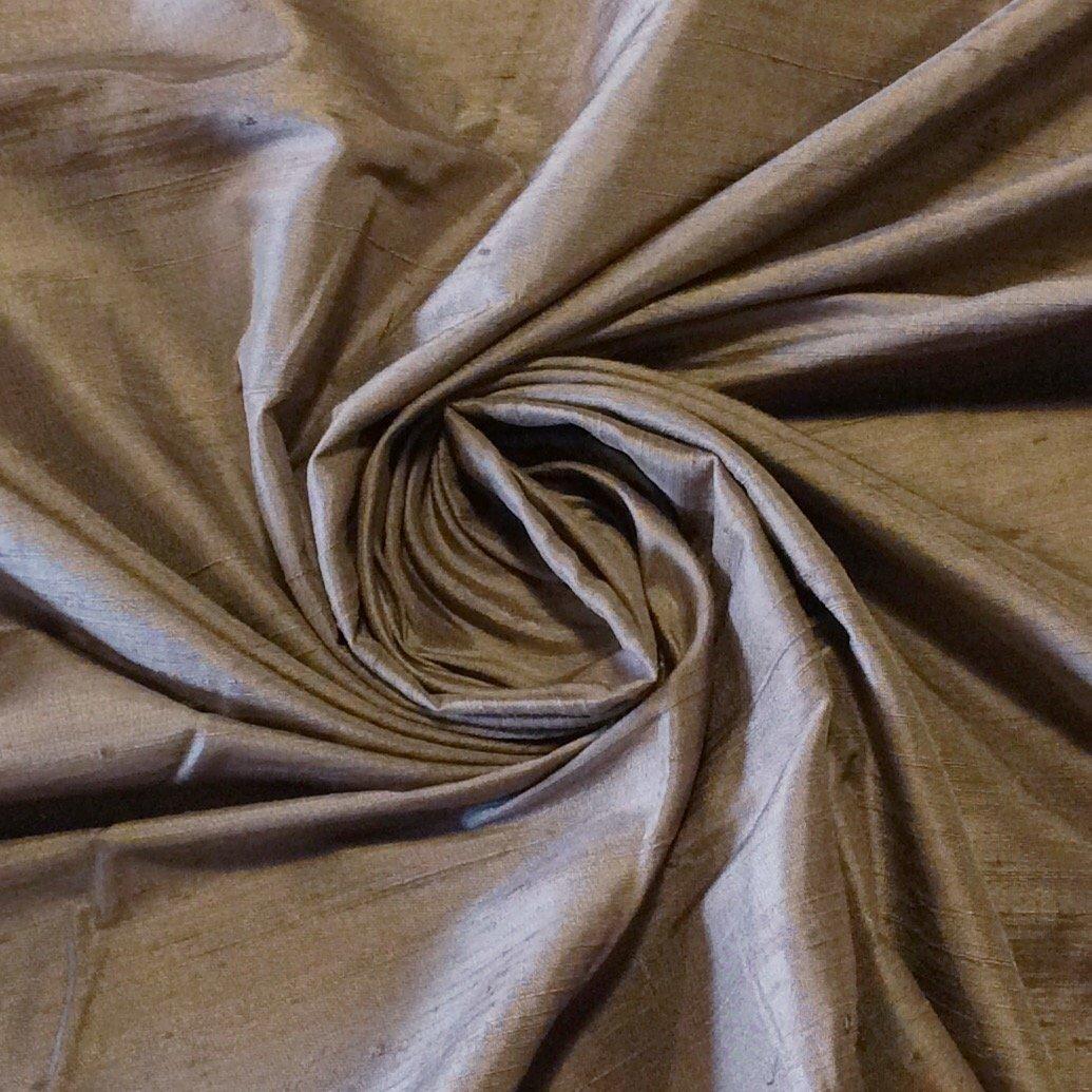 SILK SH027 Dark Taupe Exquisite Hand Woven Dupioni 100% Silk Fabric Drapery Fabric