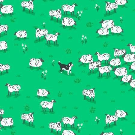 Sheep Dog Mini Sheep on the Farm Super Cute Retro Cotton Quilt Fabric CHE023