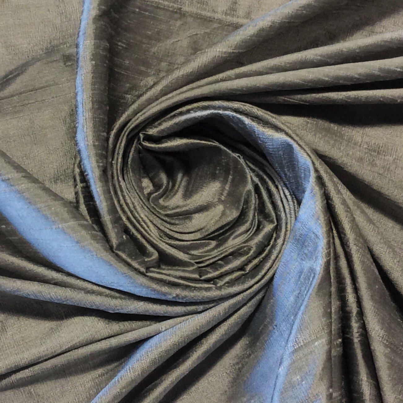 SILK SHW25 Exquisite Hand Woven Dupioni 100% Silk Fabric Drapery Fabric BTY Silver
