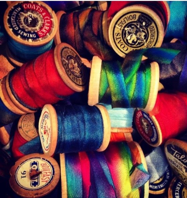 Hand Dyed Silk Ribbon BLUES Assorted 1/2 inch wide One Yard Lengths Select Color Range