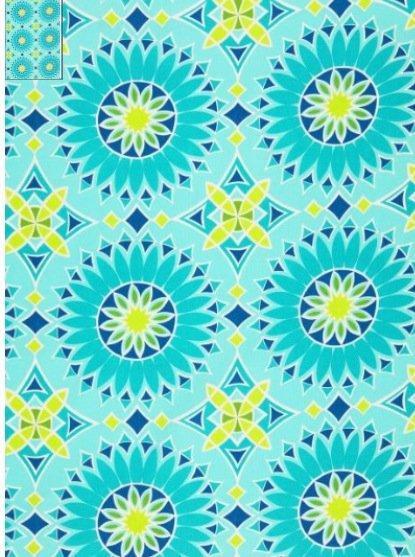 Amazing Trina Turk Soleil L.A. Print Aqua Suzani Sunbrella Acrylic Outdoor Fabric SL020
