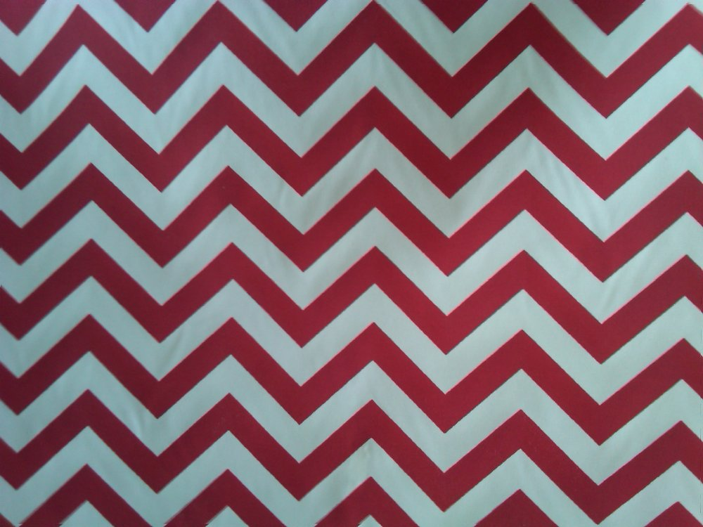 CHEVRON Cherry Red & White Indoor Outdoor Printed Famous Maker Fabric SL027
