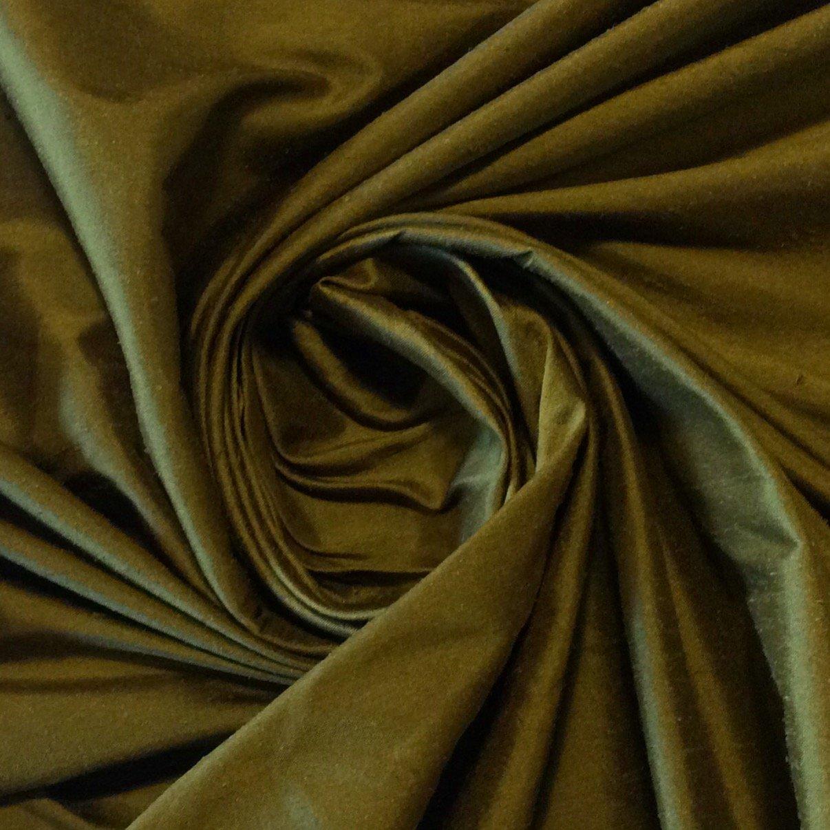 SM06 Olive Green Rich Dupioni Shantung 100% Silk Fabric Drapery Costume Fabric
