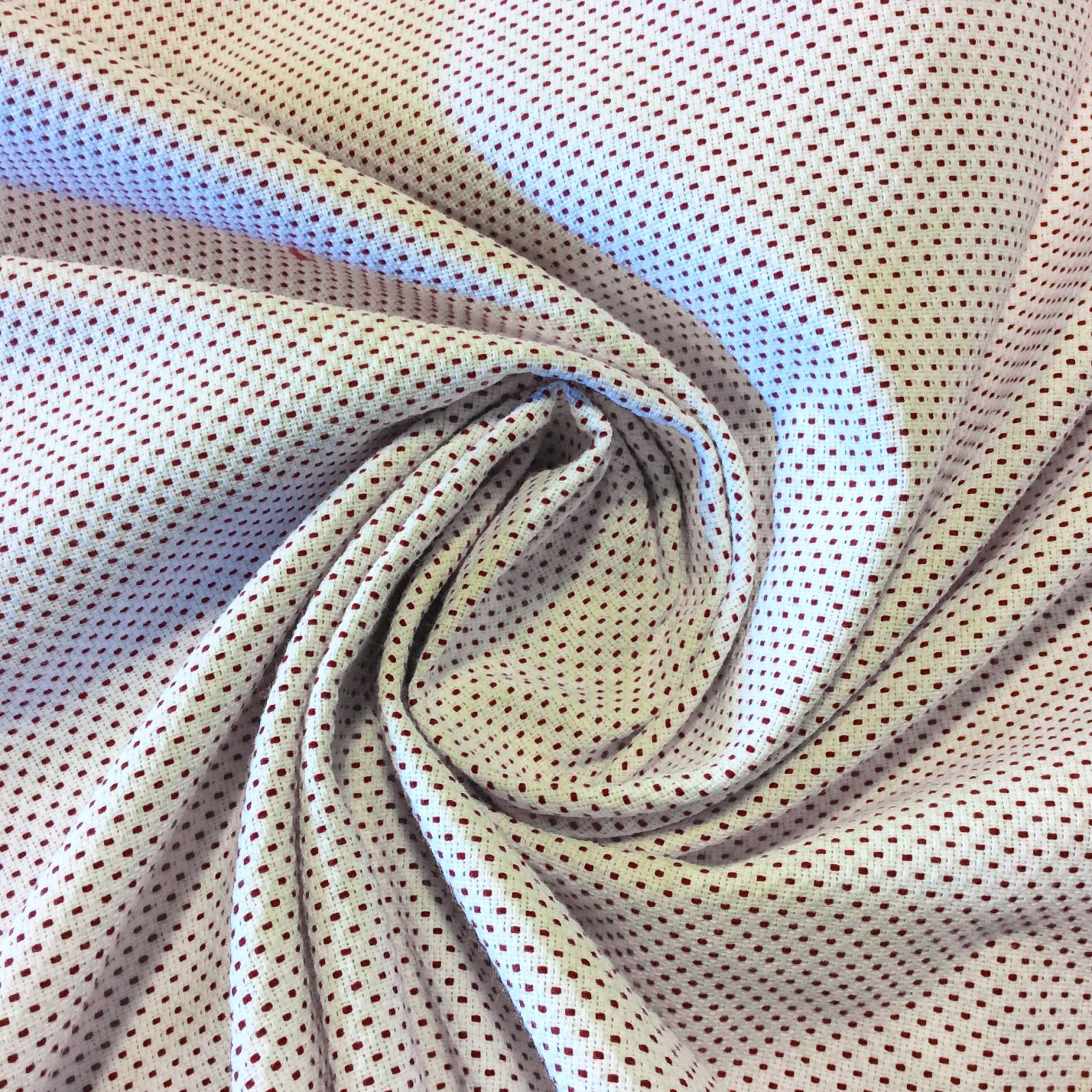Pindler & Pindler Red on White Dot Dash Woven Acrylic Indoor Outdoor Patio  Fabric SM14