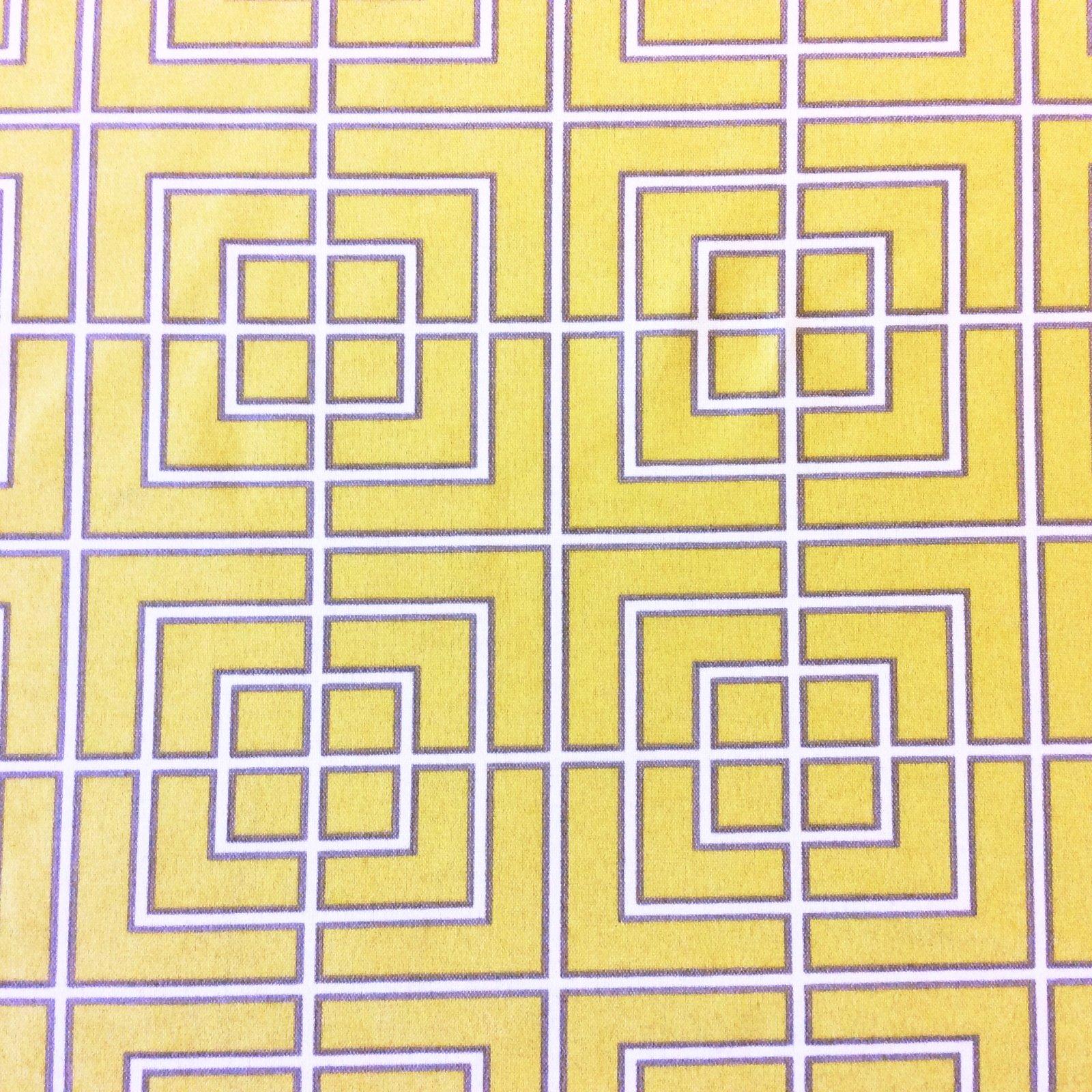 Geometric Yellow & White Geo Block Grid Square Patio Indoor Outdoor Home Dec Fabric SM25