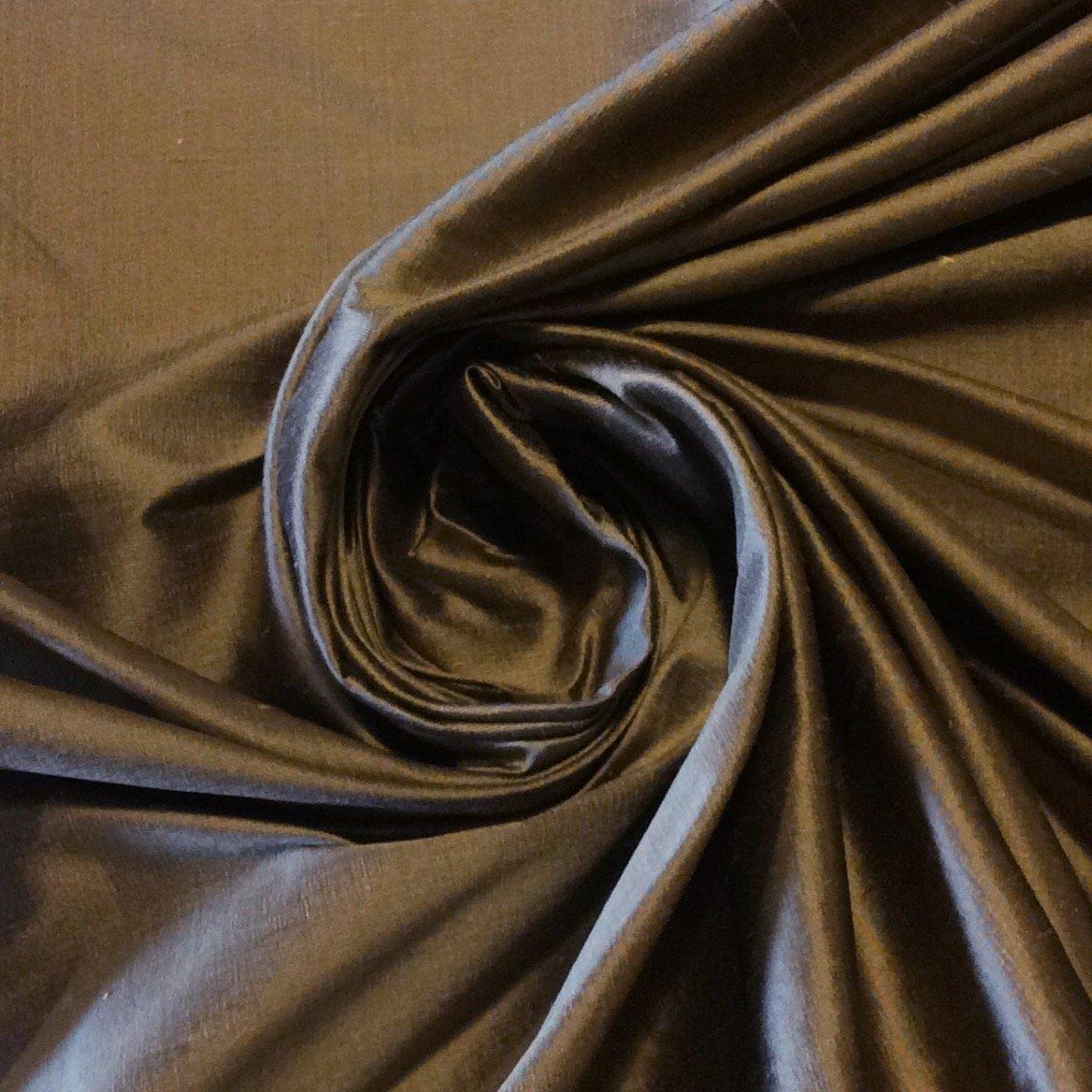 SMW10 Luxurious Bronze Brown Dupioni 100% Silk Fabric Drapery Fabric
