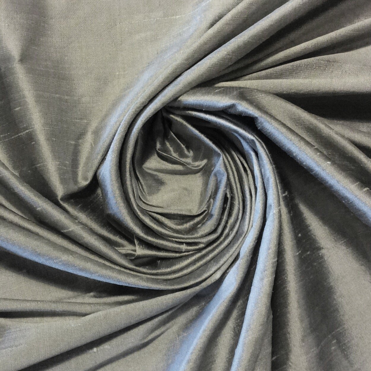 Exquisite Dupioni 100% Silk Fabric Drapery Fabric BTY Silver Iridescent SMW22