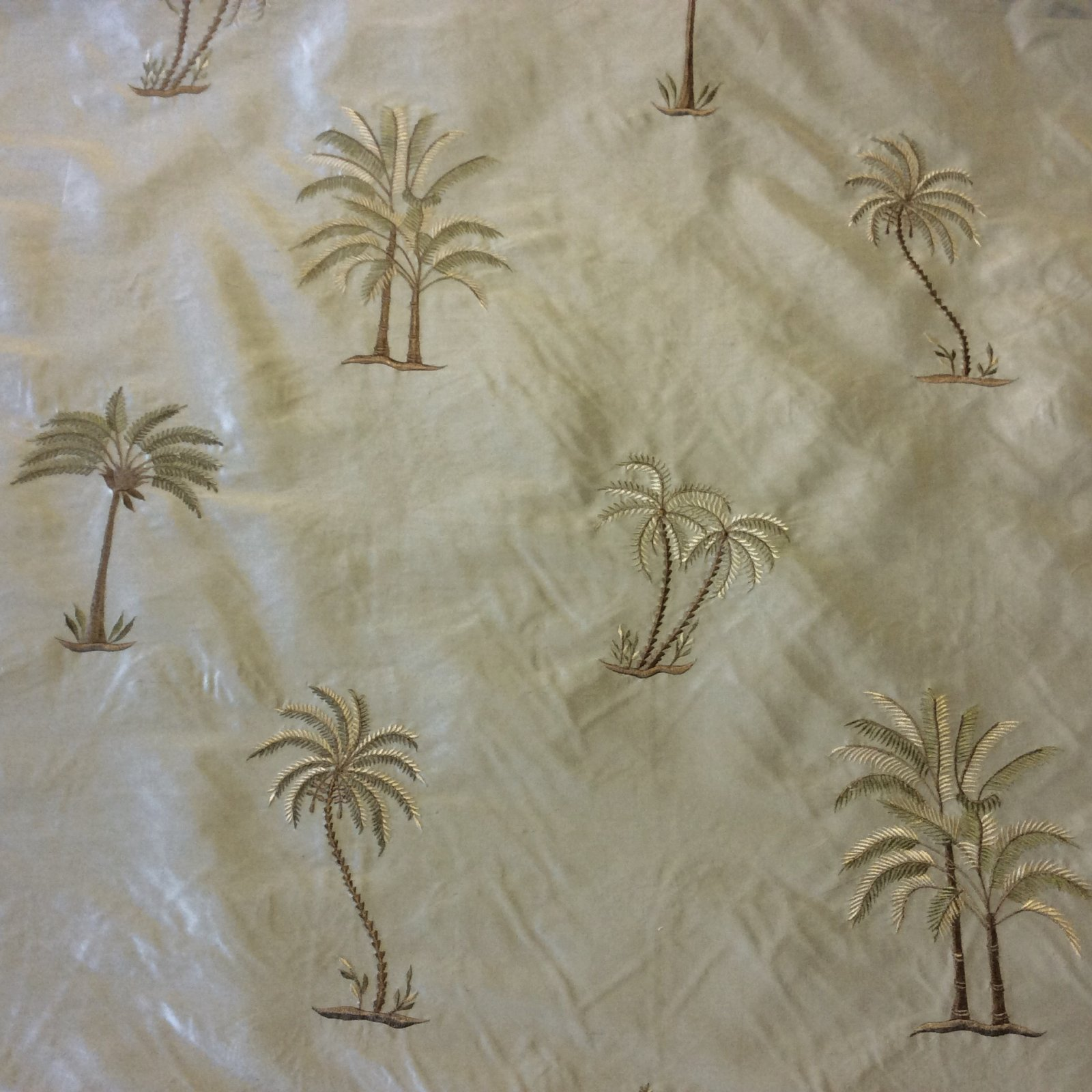 SMW20 Palm Tree Exotic Machine Woven Dupioni 100% Tropical Silk Drapery Fabric