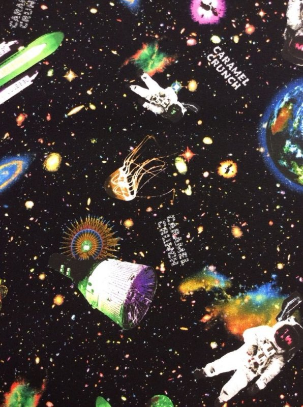 Kokka caramel crunch space japanese cotton fabric quilt for Space themed fleece fabric