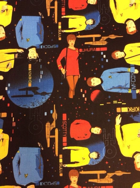 Star Trek Kirk Scotty Spock Cotton Fabric Quilt Fabric CA05