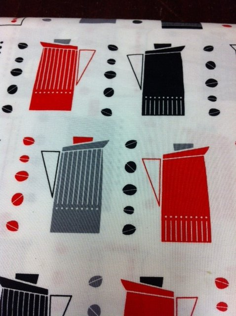 Metro Caf� Pots Kettles Red Gray White white background Cotton fabric Quilt fabric T134