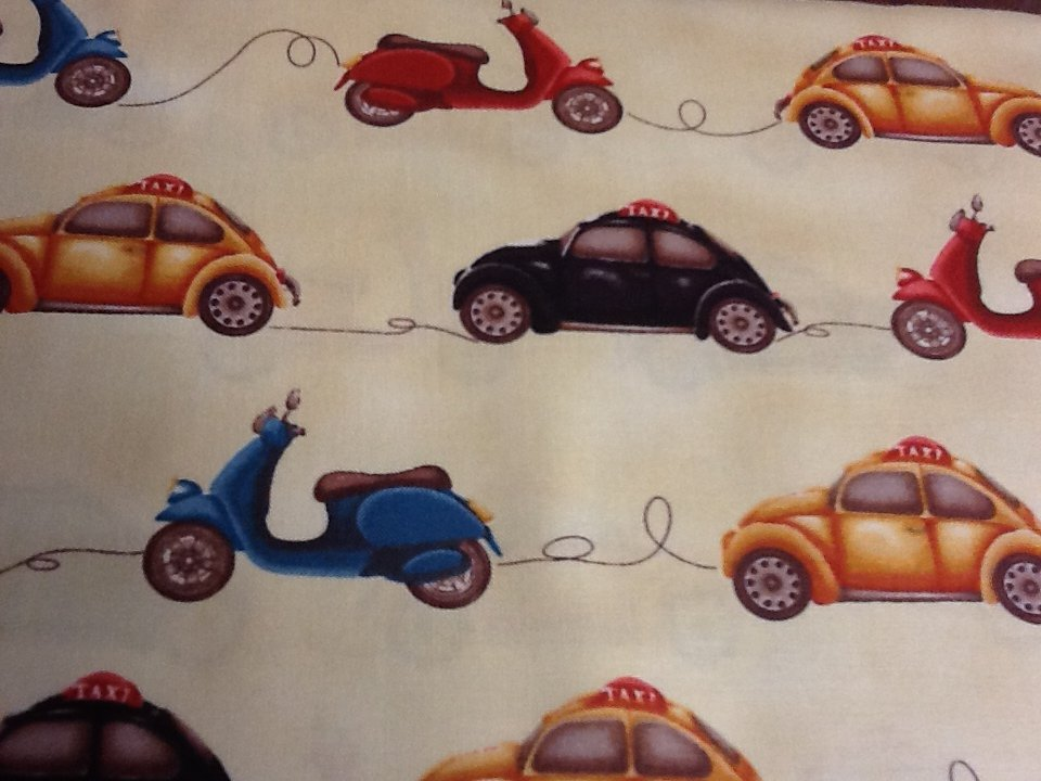 FF100 Buggy Volkswagon VW's and Mopeds Cotton Fabric Quilt Fabic