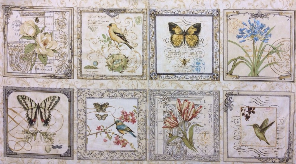 FF102 Bird Butterfly Vintage Look Nature Botanical Illustration PANEL Cotton Fabric Quilt Fabric