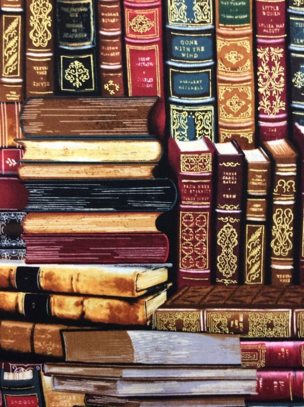 Literary Books Antique Beautiful Library Books Stacks Cotton Fabric Quilt Fabric TT26