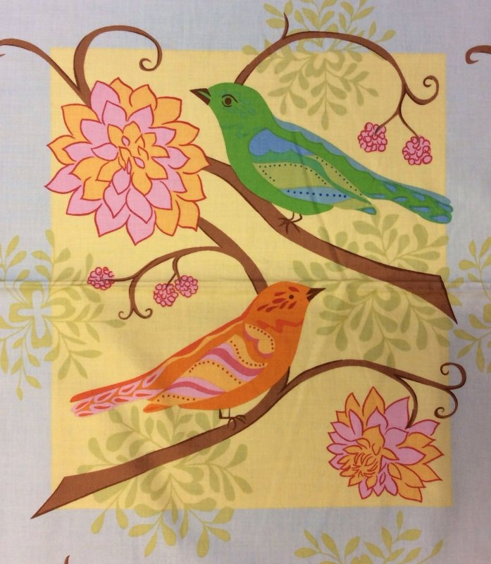 FF105 T317 PNL85  Bird on Branch Birds  Floral Panel Square Cotton Fabric Quilting Fabric