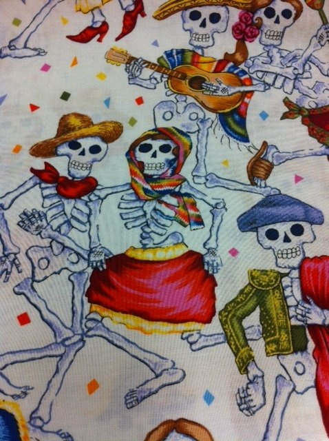 Parranda De Los Muertos Blue Mexican Day of the Dead Mexico Dance Skeletons Guitars Bass Cotton Fabric Quilt Fabric FF119