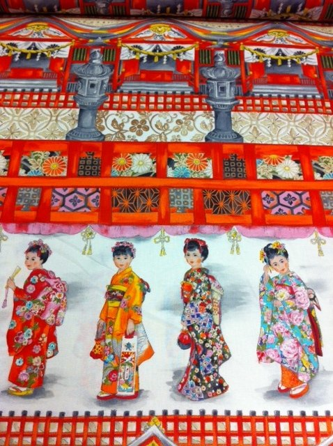 Asia Girls at Temple Japanese Kimono Ceremony Cotton Fabric ... : cotton fabric quilting - Adamdwight.com
