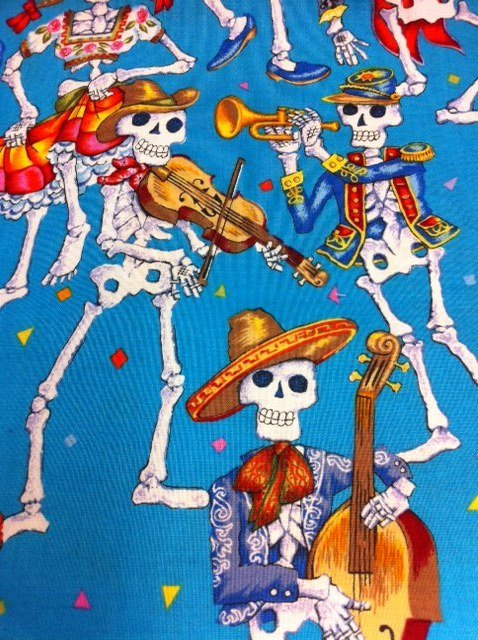 FF91 Parranda De Los Muertos Blue Mexican Day of the Dead Mexico Dance Skeletons Guitars Bass Cotton Fabric Quilt Fabric