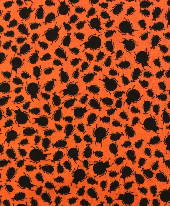 Orange Beetles Bugs Insects Cotton Fabric Quilt Fabric T417