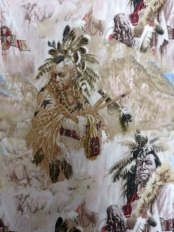 Native American Warriors Horses Headdresses Tribal Western Cotton ... : western quilting fabric - Adamdwight.com