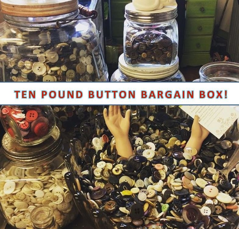 HUGE TEN POUND BOX - VINTAGE BUTTONS - MYSTERY SURPRISE BARGAIN BOX!!!