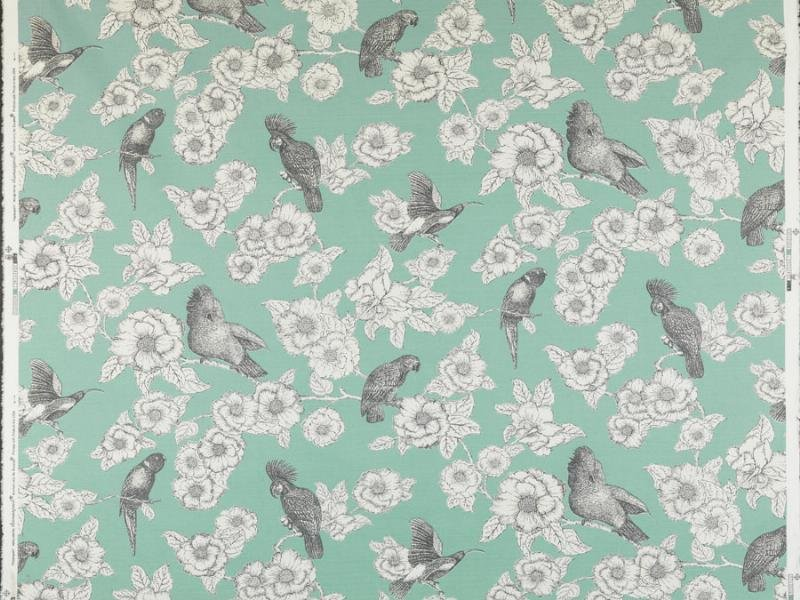 Thomas Paul Pappagalli Bird Cotton Linen Fabric Home Dec Drapery Fabric Aqua DSO