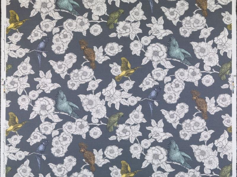 Thomas Paul Pappagalli Bird Cotton Linen Fabric Home Dec Drapery Fabric Charcoal DSO