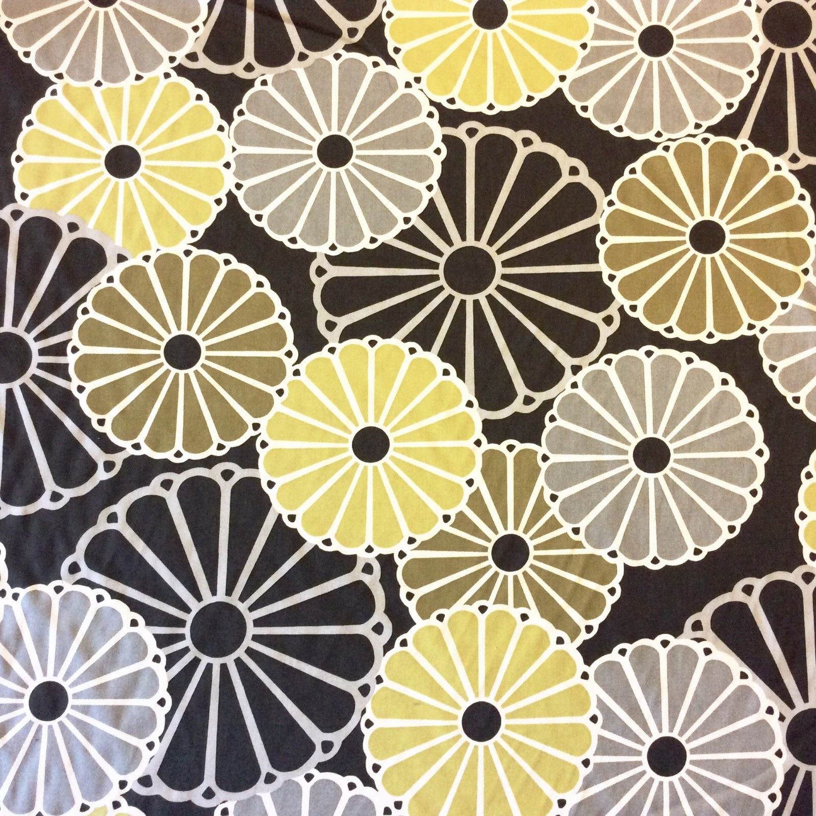 Thomas Paul Duralee,  Parasois Chartreuse Number: 20873-25Scandinavian Modern Flowers Light Black background Heavy Weight Cotton Fabric Home Dec Fabric DSO306