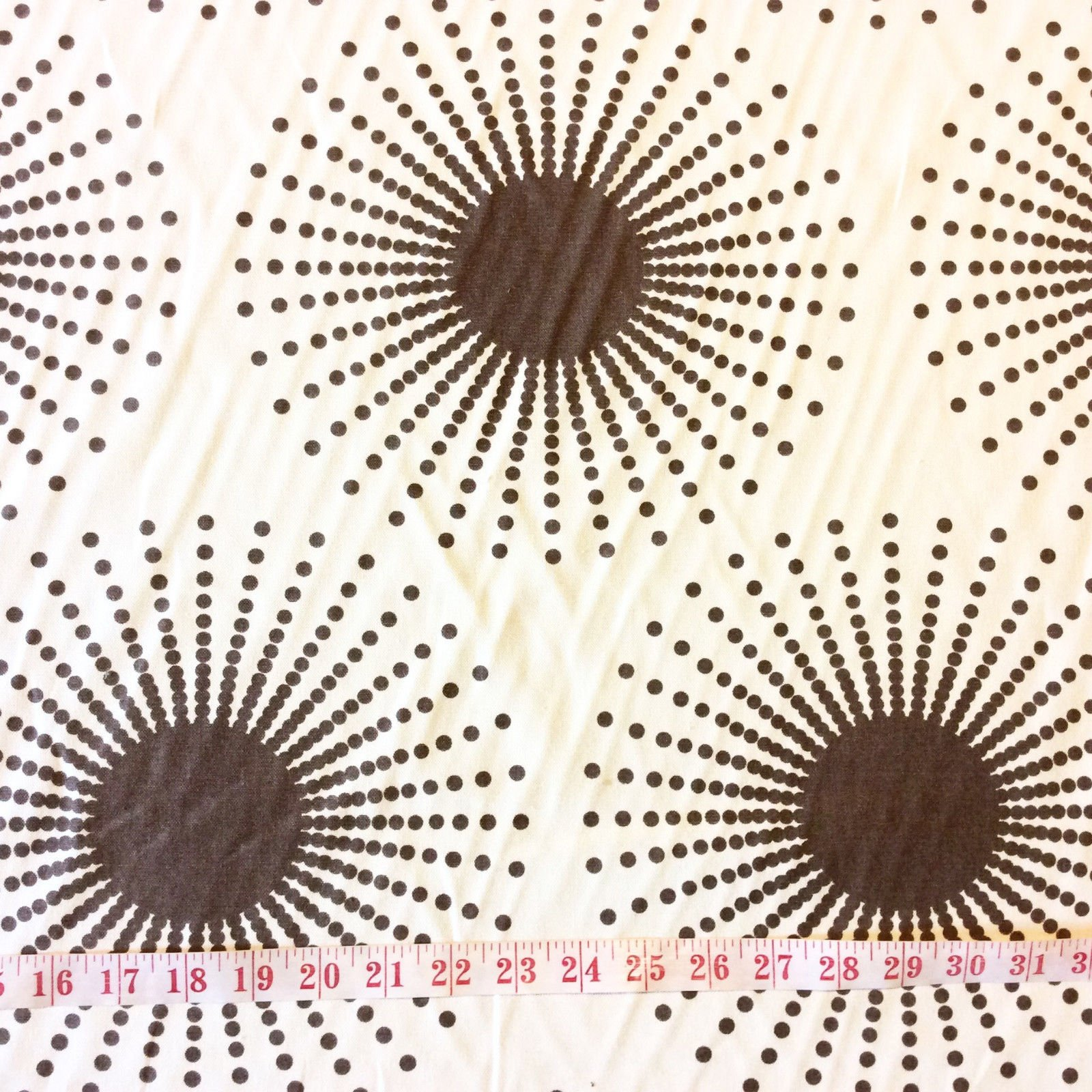 Thomas Paul Illustrated Graphic Print Anemone Sputnik Heavy Weight Cotton Fabric Starburst Smoke DSO115