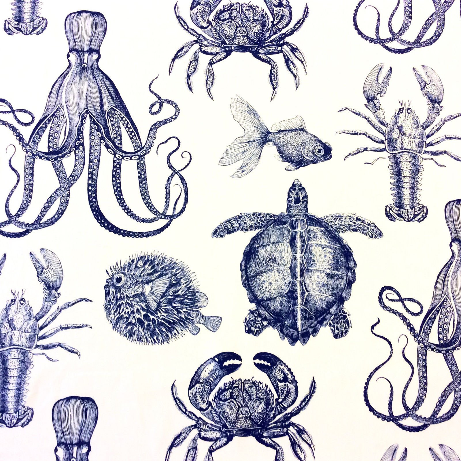 Thomas Paul Sealife Lobster Crab Octopus Turtle Illustrated Life Print Heavy Weight Cotton Fabric Indigo DSO102 OR133