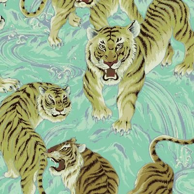 Tora Asian Tiger Big Cat Japanese Cotton Quilt Fabric QG30