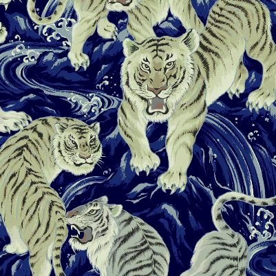 Tora Asian Tiger Big Cat Japanese Cotton Quilt Fabric QG31