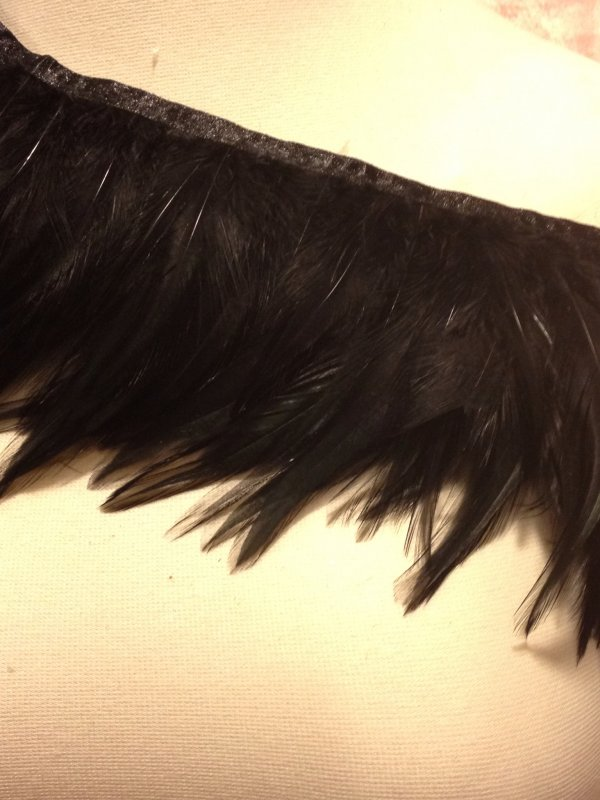 Feather Glossy Black Exotic Fringe Trim 5 Wide SALE! $14.99/yard TOS07
