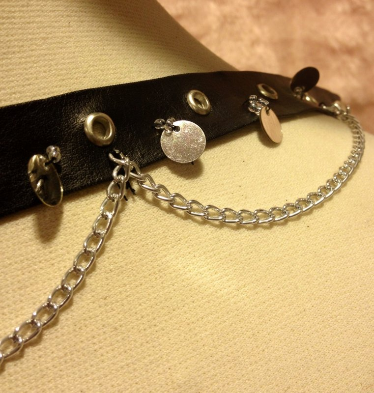Faux Leather Trim Steampunk Goth Biker Rivet Grommet Chain 1.75 Trim SALE! $5.99/yard TOS1