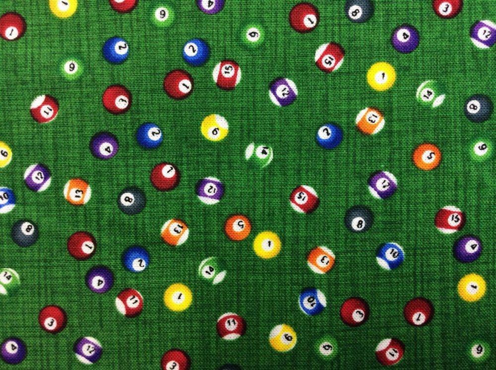 Billiard Balls Pool Table Sports Colorful Cotton Fabric Quilt Fabric TT24
