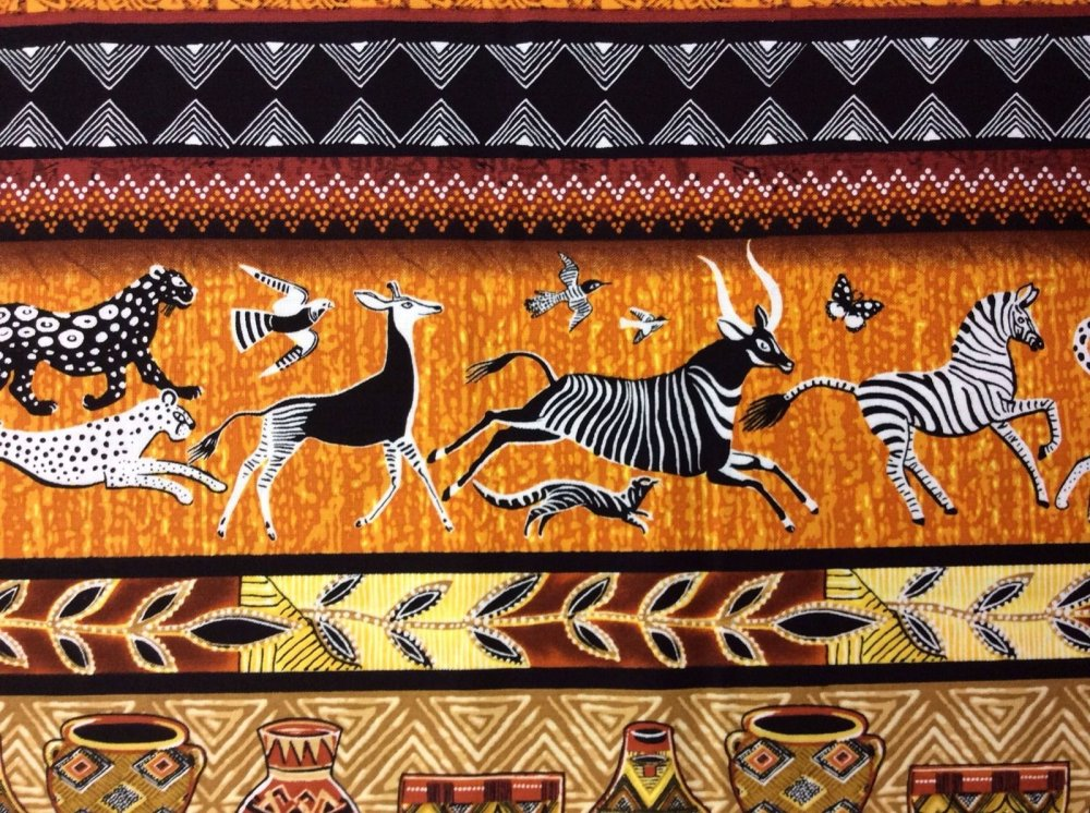 African Art Wild Animals Pottery Chevron Cotton Fabric Quilt Fabric TT25
