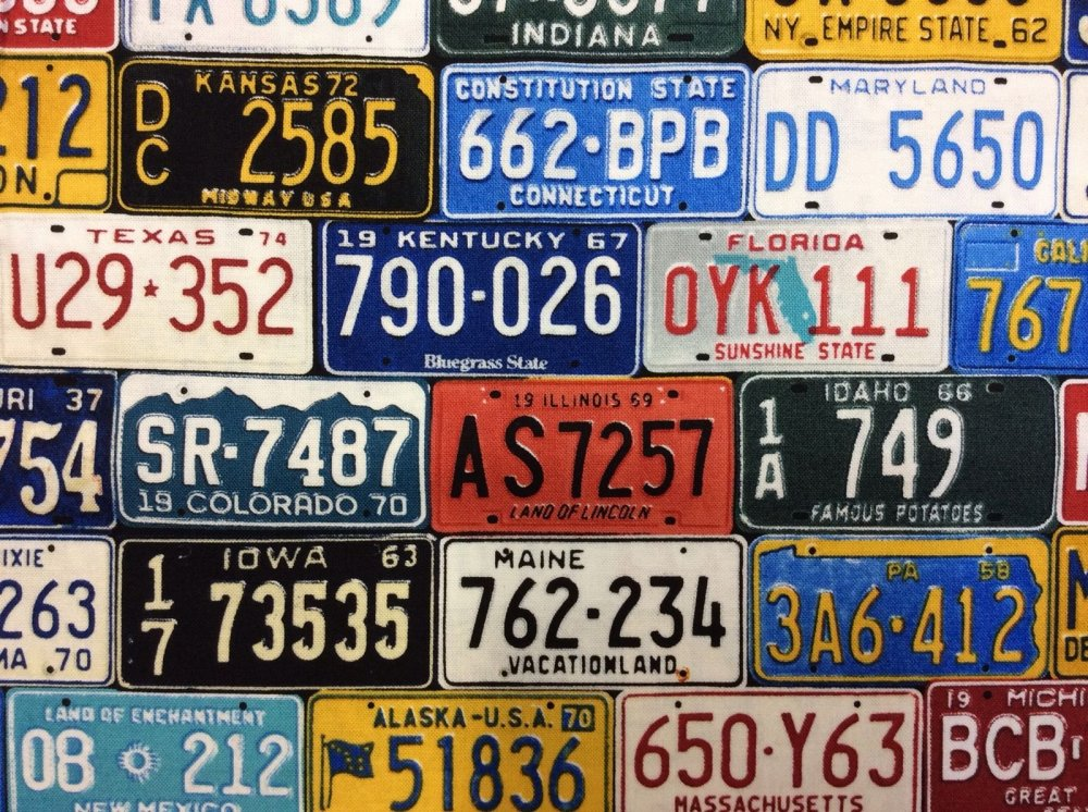License Plates Cars Travel 50 States Cotton Fabric Quilt Fabric TT30