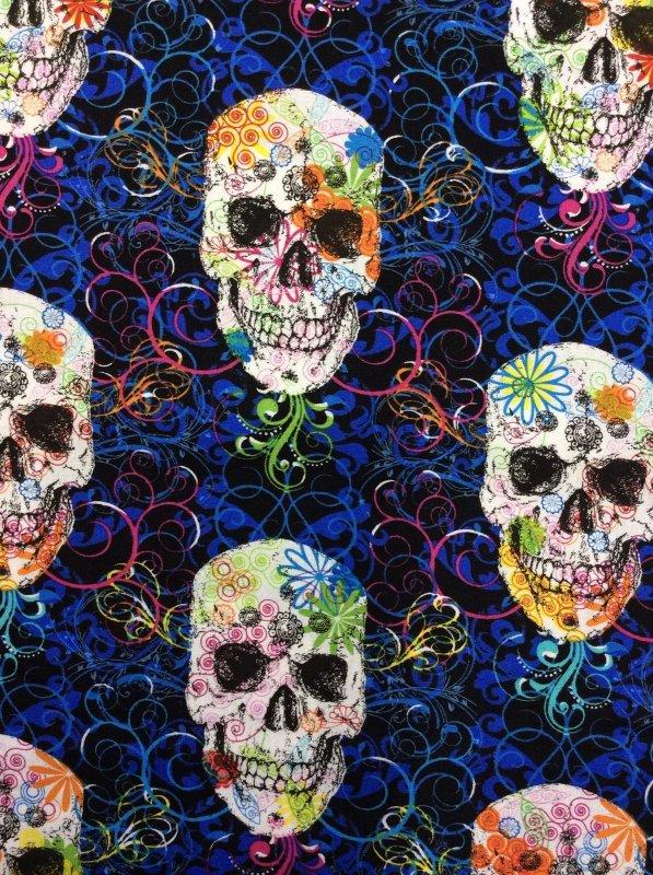 Bright Colorful Swirls Skulls Flowers Graffiti Day Dead Goth Halloween Cotton Quilt Fabric TT31