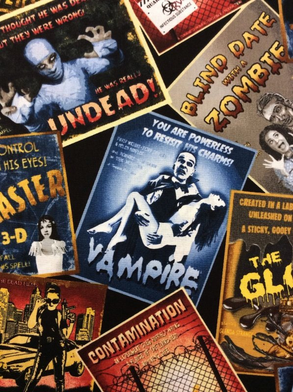 Alfred Hitchcock Style Horror Movie Posters Vampire Zombies The Glob Cotton Fabric Quilt Fabric TT32