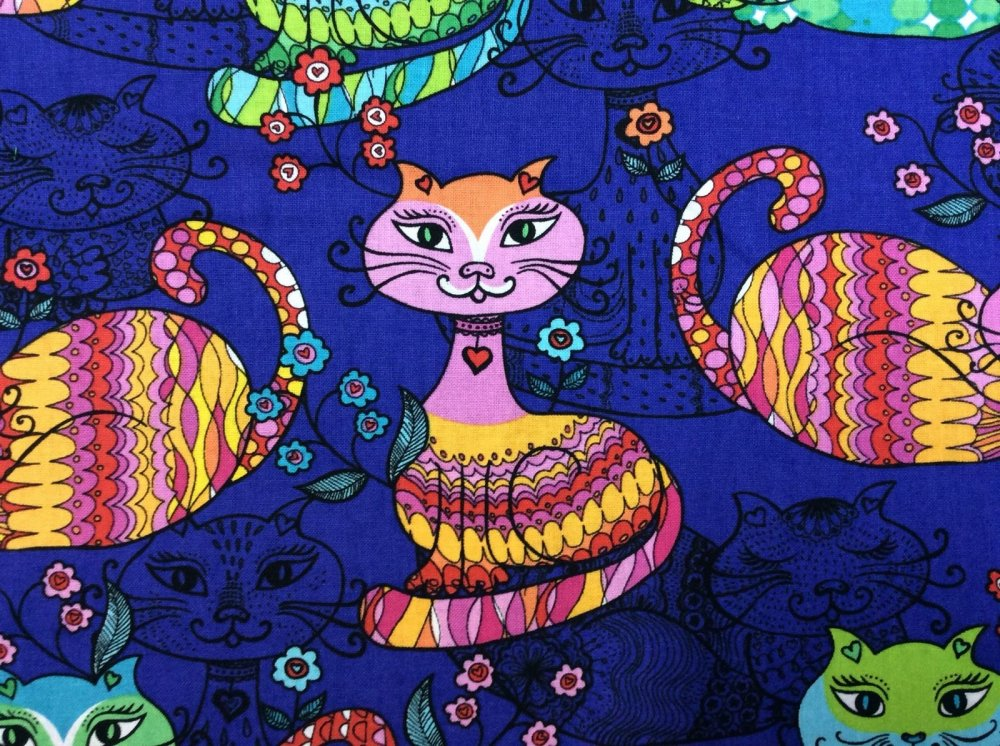 Last Piece! 26 x 44 Colorful Cats Patterned Funky Fun Cotton Fabric Quilt Fabric PCTT36