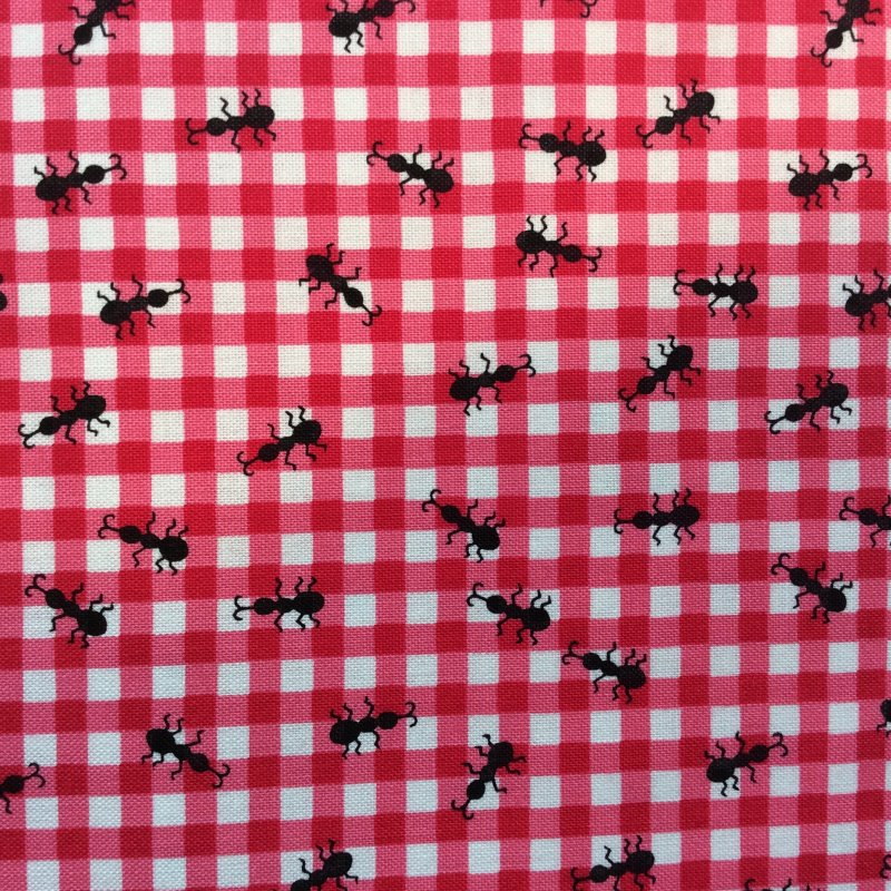 TT51 Ants at a Picnic Gingham Red Pink Bugs Insects Quilting Cotton Quilt Fabric