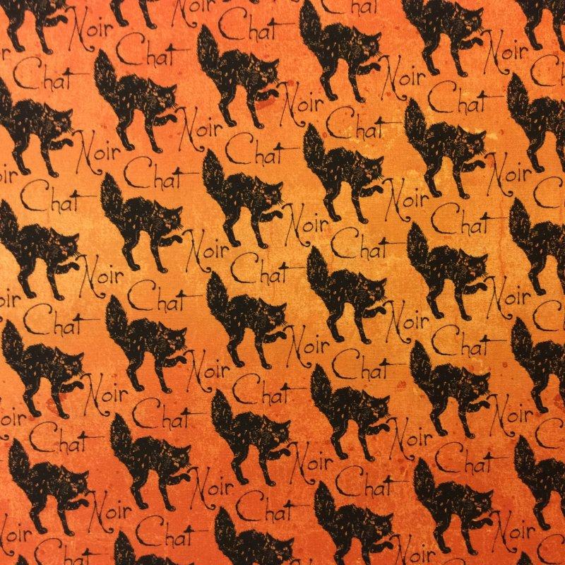 TT60 Halloween Black Noir Cat Spooky Scary Orange Quilt Cotton ... : orange quilt fabric - Adamdwight.com