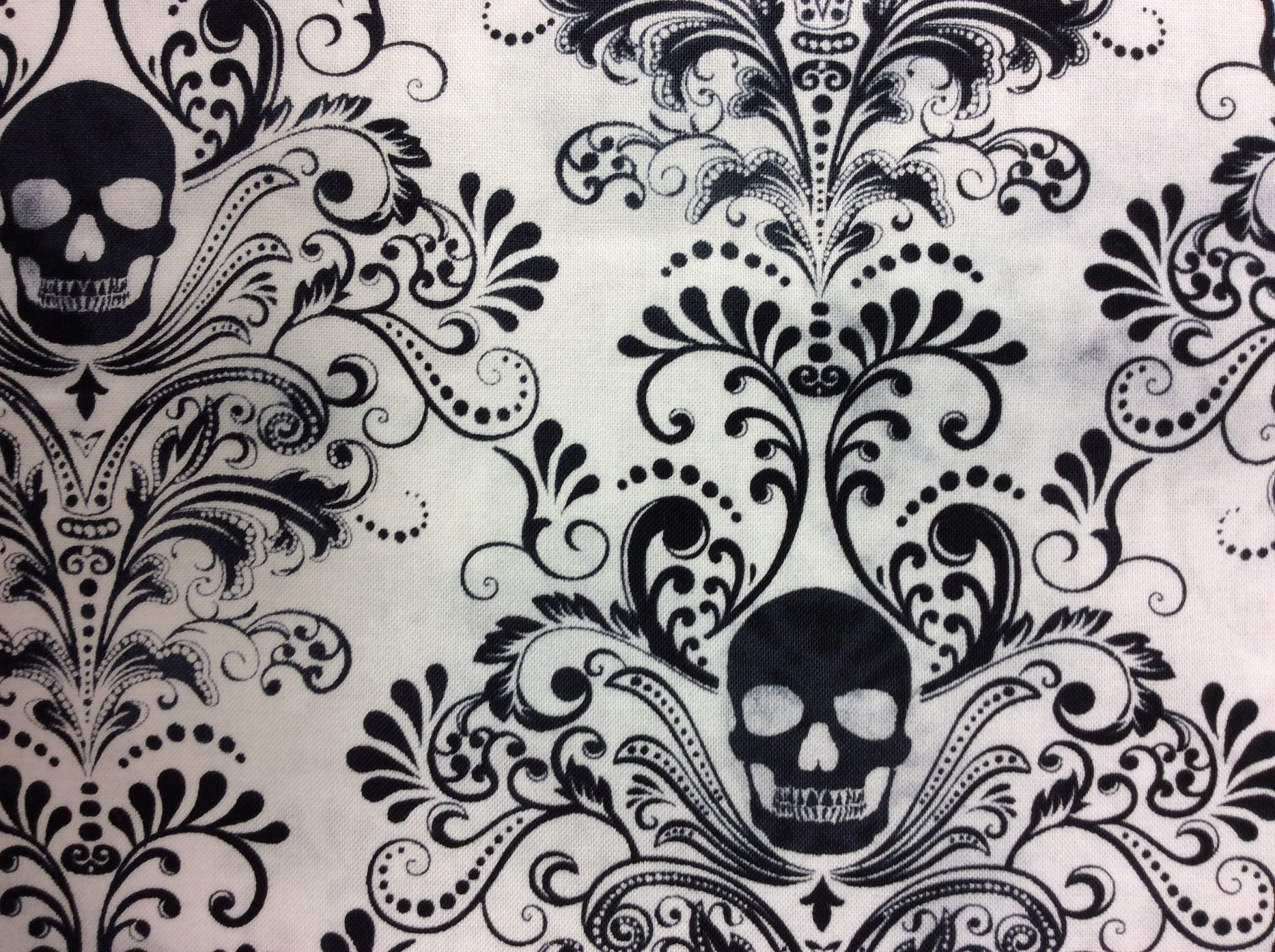 Goth Horror Skull Damask Punk Scarey Halloween Tattoo Dead Cotton ... : tattoo quilt fabric - Adamdwight.com