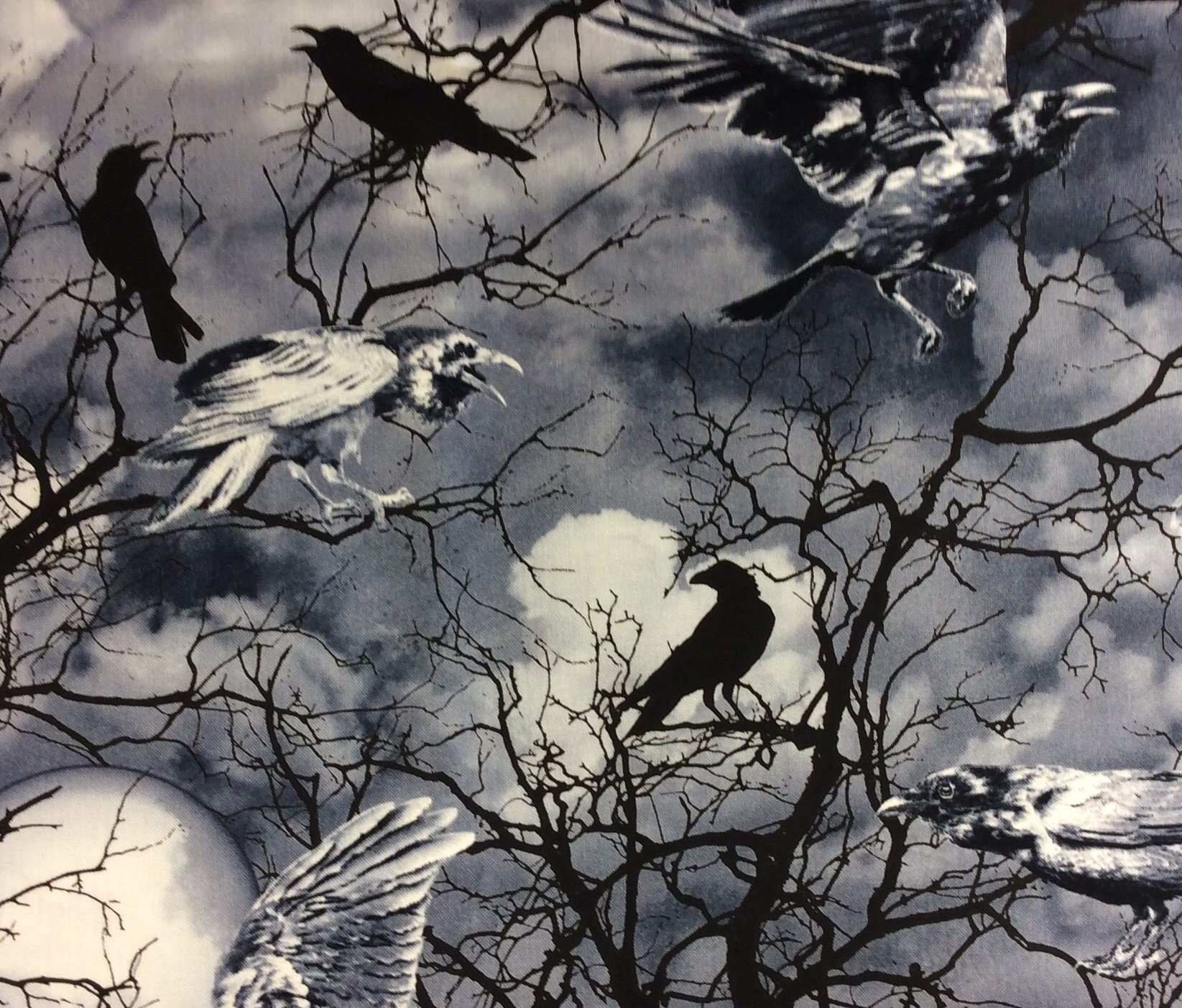 Goth Horror Crows Halloween Night Woods Creepy Scary Spooky Tree Cotton Quilt  Fabric TT73