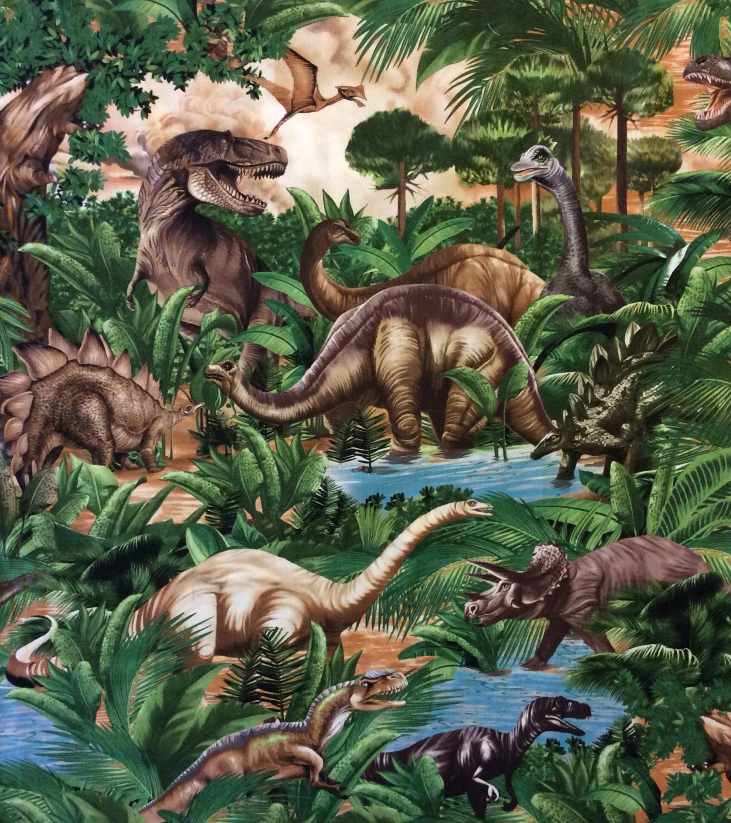 FAT QUARTER! Dinosaur T-Rex Jurassic Period Stegosaurus Extinct Cotton Quilt Fabric RPFTT81
