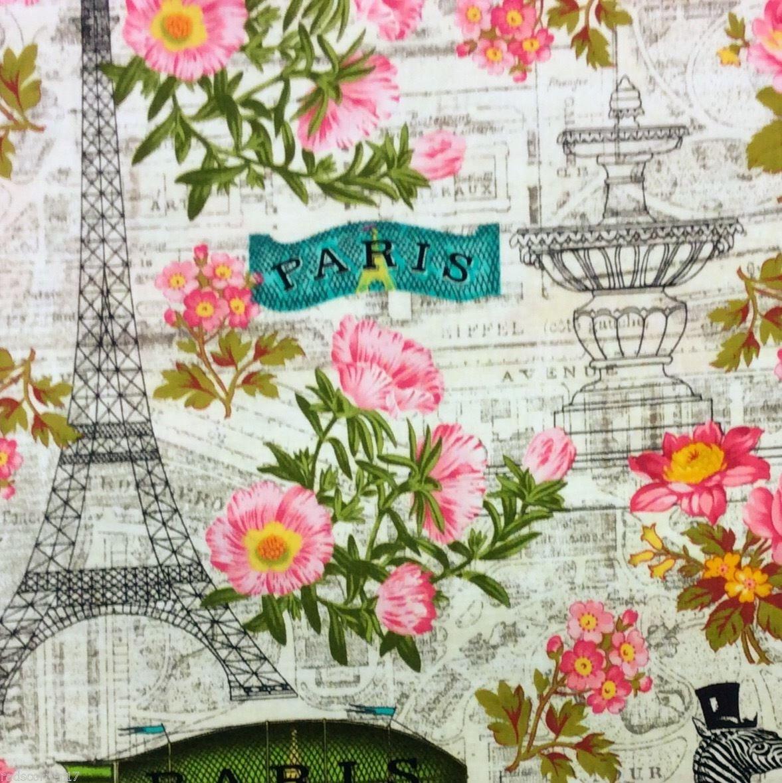 FAT QUARTER! Zebras Paris Eiffel Tower Retro Animals Roses France Cotton Quilt Fabric RPFTT86