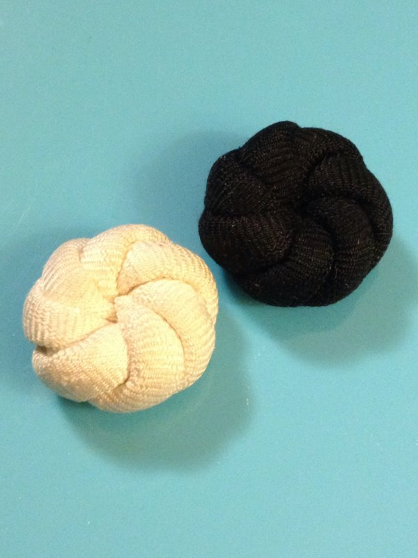 Vintage Passimenteries Ivory and Black Antique Button Set of TWO Fabric VINTAGE Buttons 1 1/4